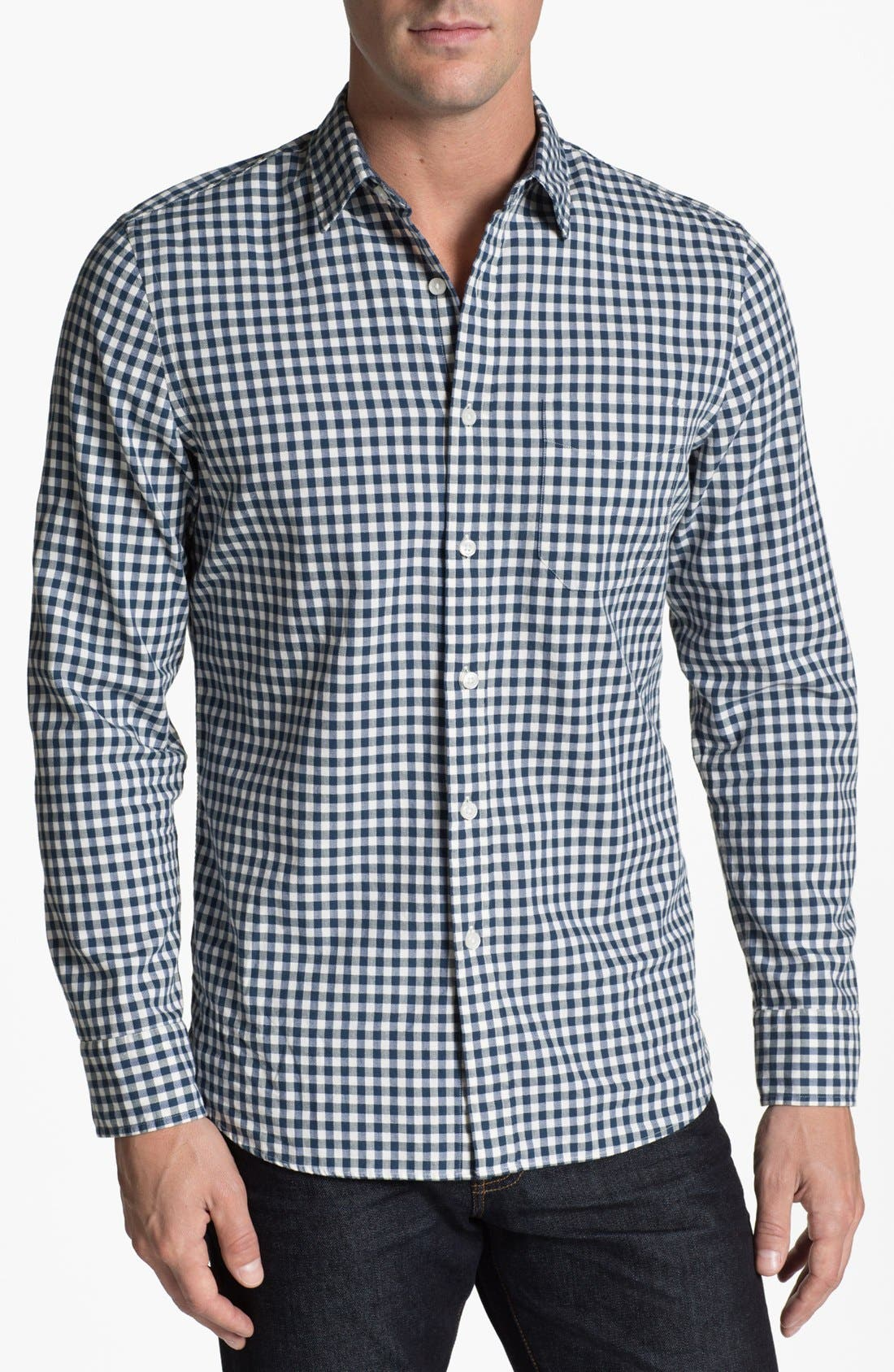 Alternate Image 1 Selected - Wallin & Bros. Gingham Trim Fit Sport Shirt