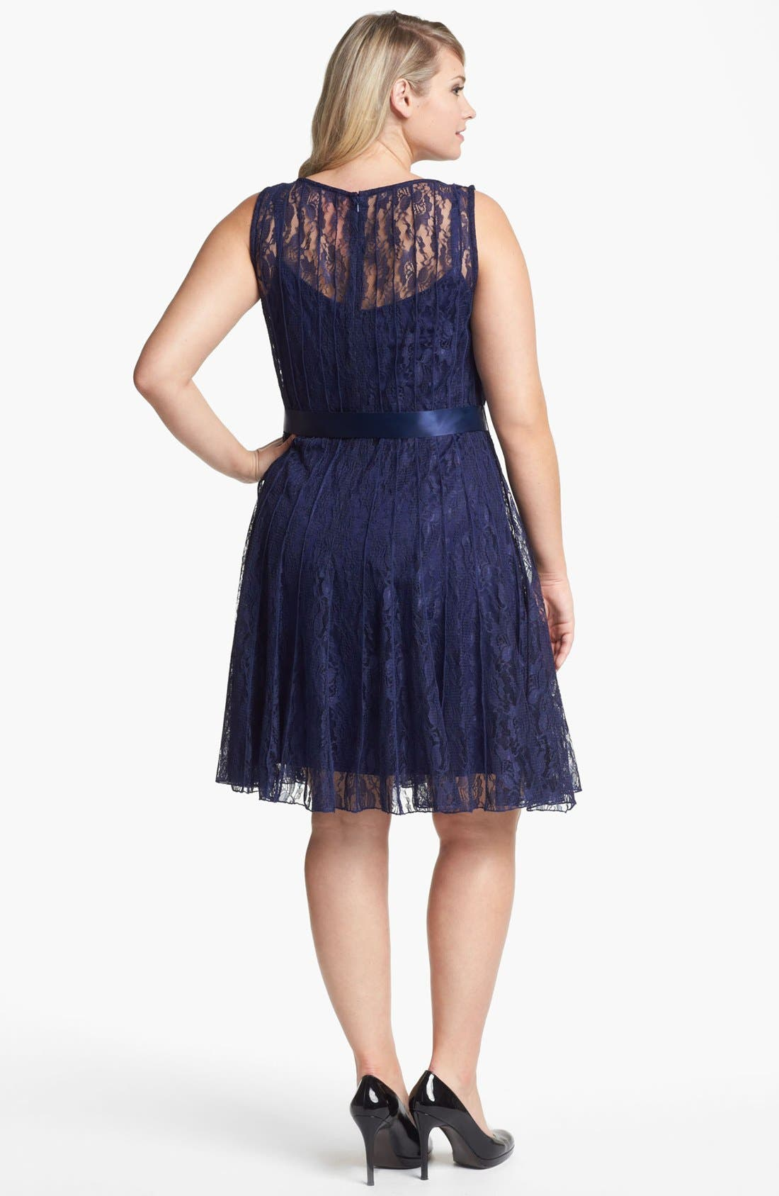 Alternate Image 2  - Xscape Pleated Lace Fit & Flare Dress (Plus Size)