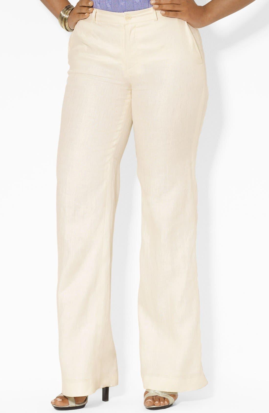 Alternate Image 1 Selected - Lauren Ralph Lauren Wide Leg Linen Pants (Plus Size)