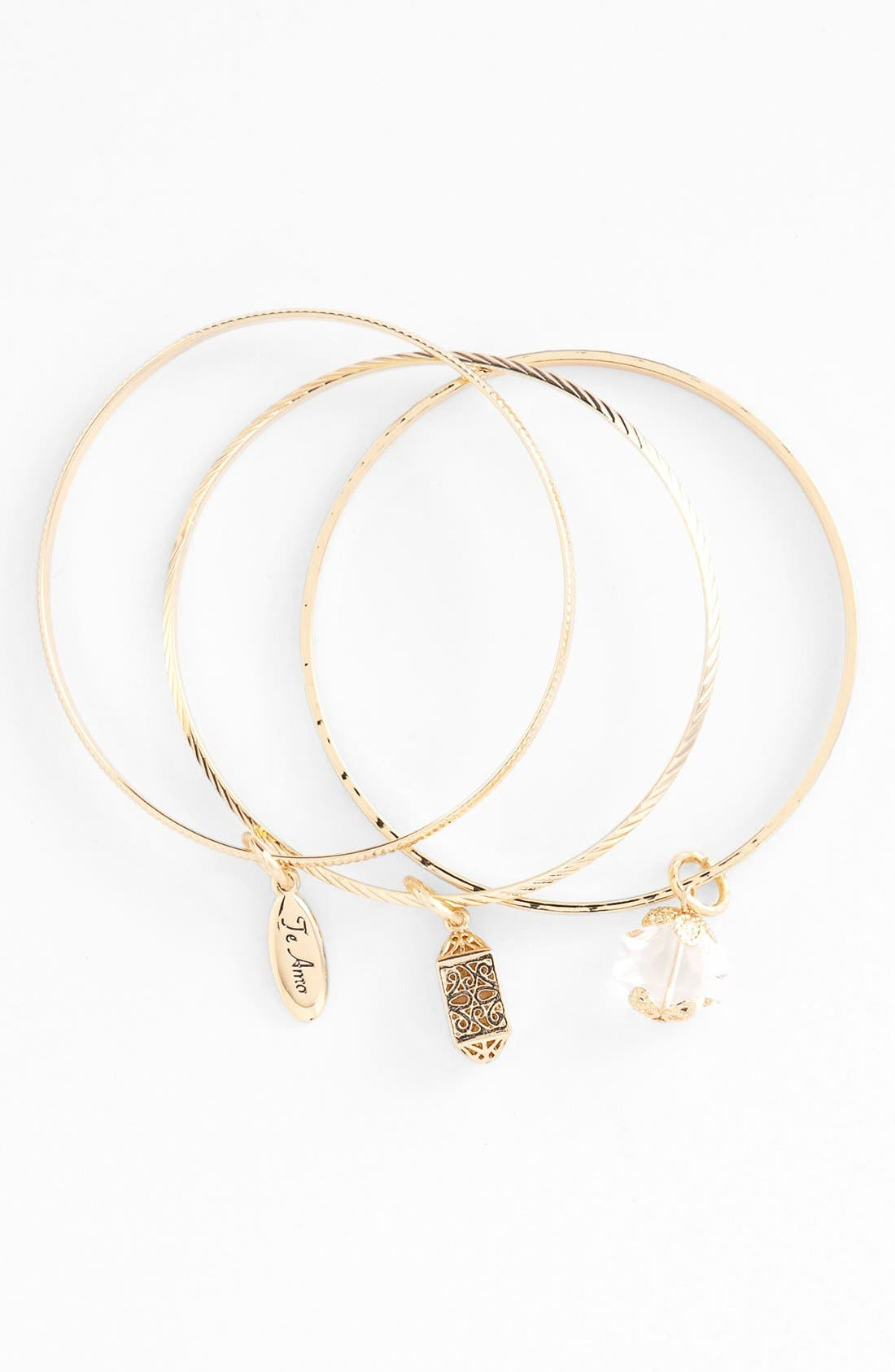 Alternate Image 1 Selected - Nordstrom 'Love Languages' Charm Bangles (Set of 3)