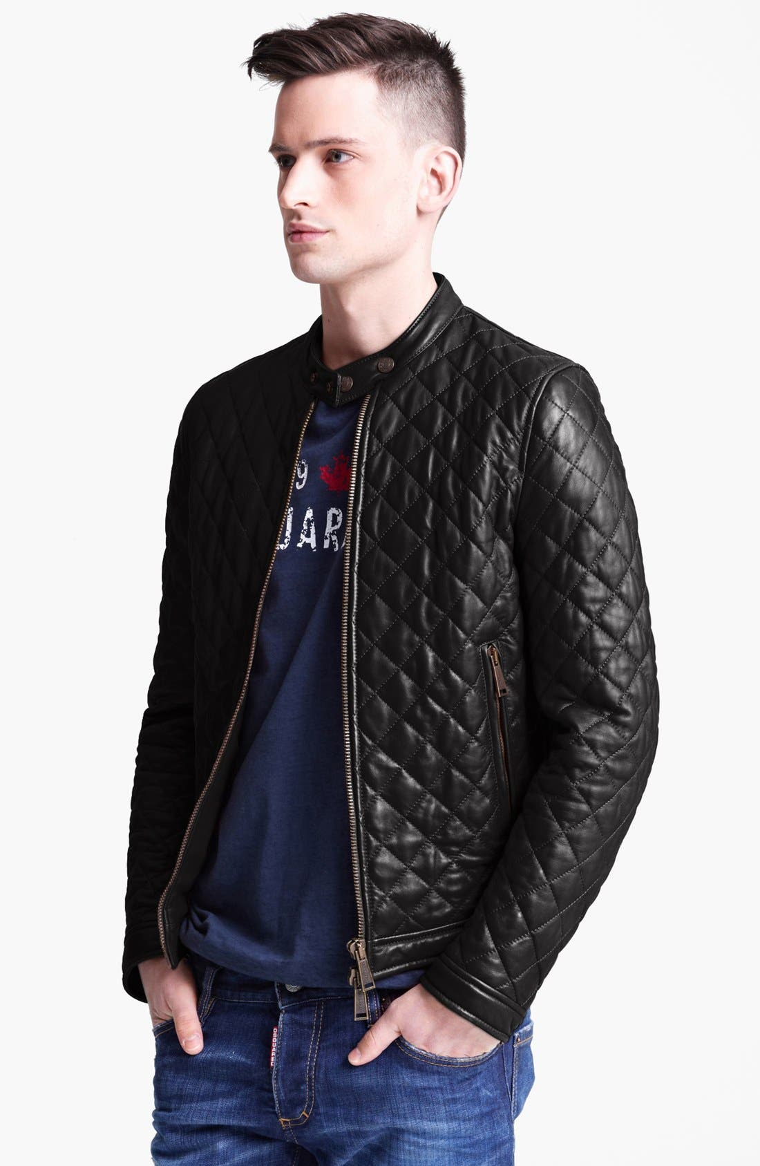 Alternate Image 1 Selected - Dsquared2 Quilted Leather Jacket