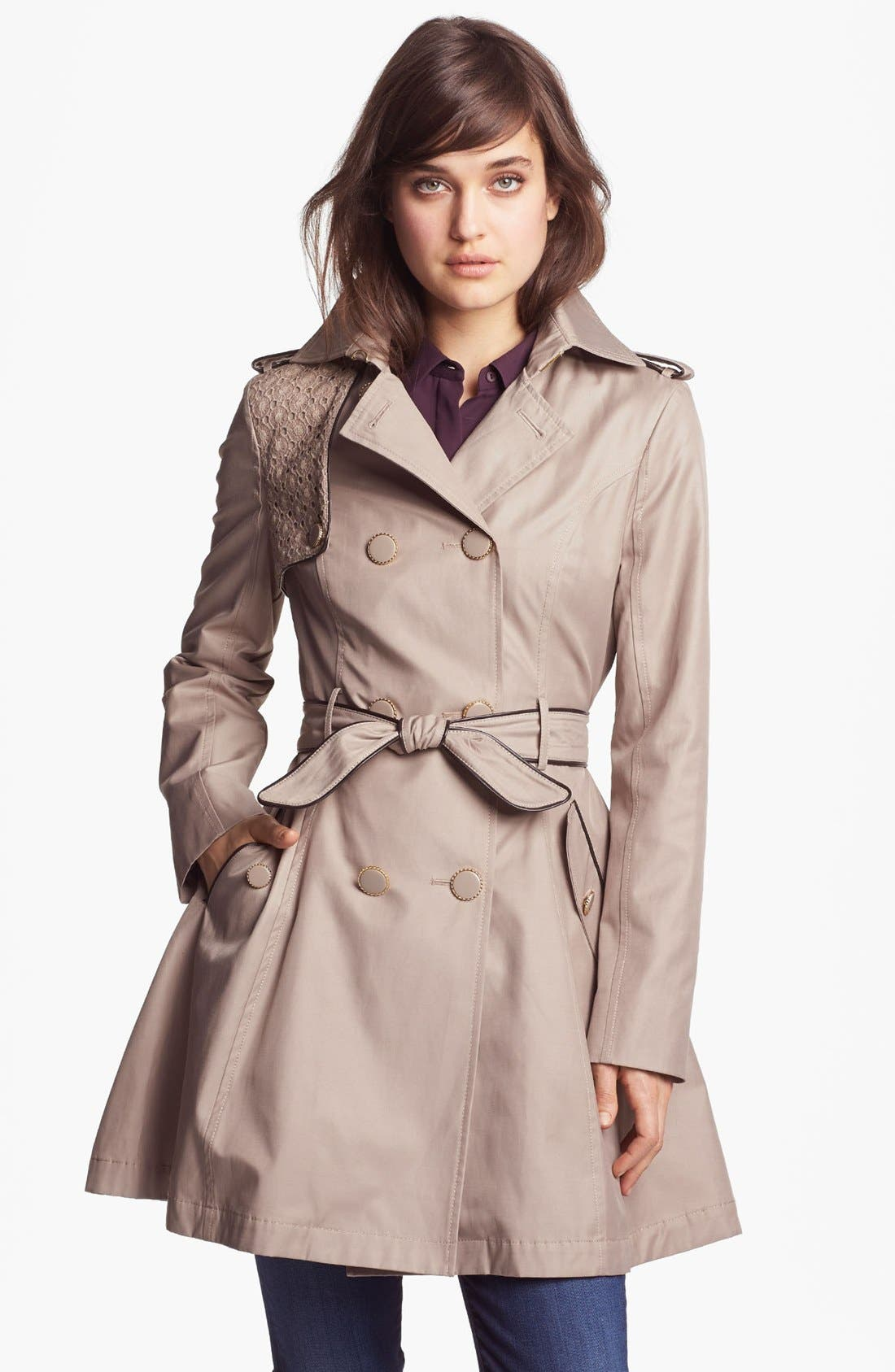 Alternate Image 1 Selected - Betsey Johnson Lace Flap Double Breasted Trench Coat (Online Only)