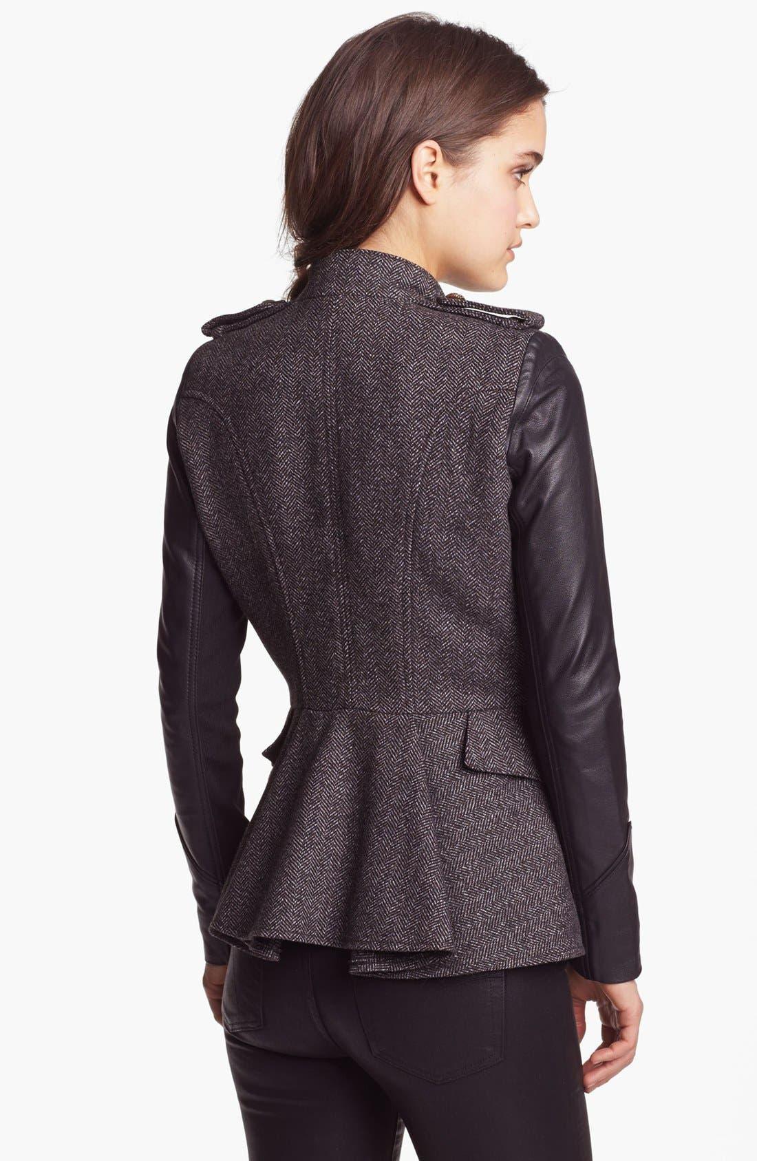 Alternate Image 2  - BCBGeneration Tweed & Faux Leather Military Jacket