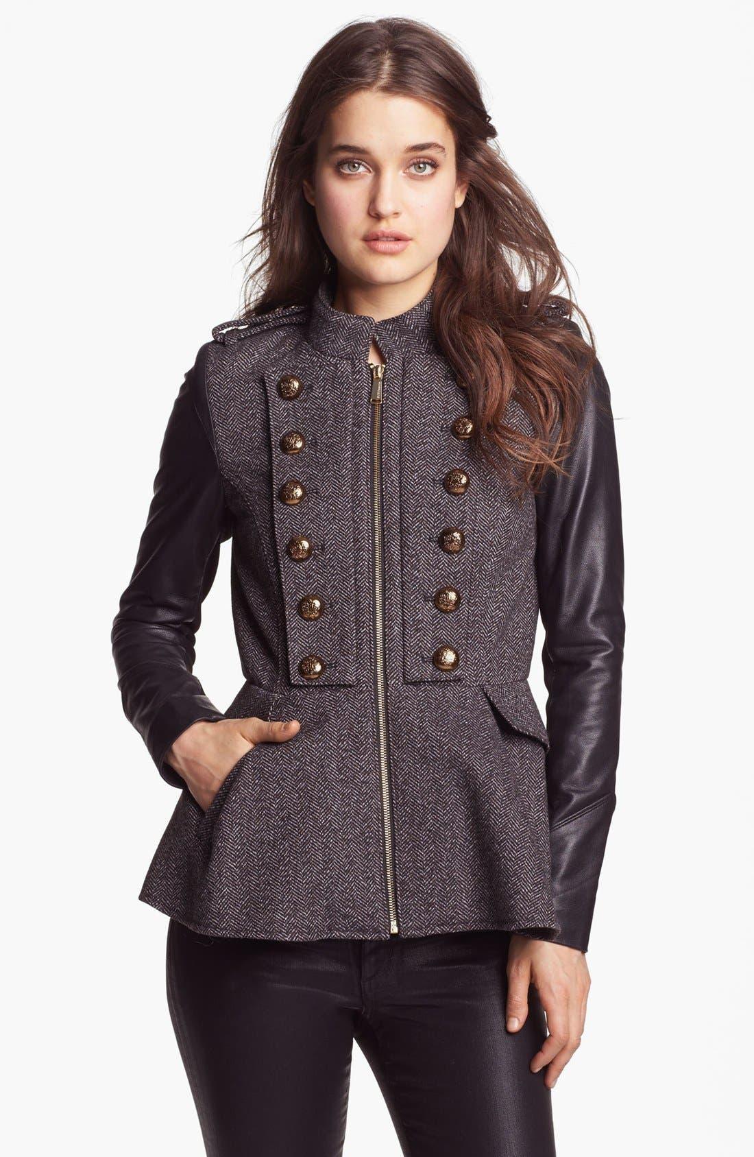 Main Image - BCBGeneration Tweed & Faux Leather Military Jacket