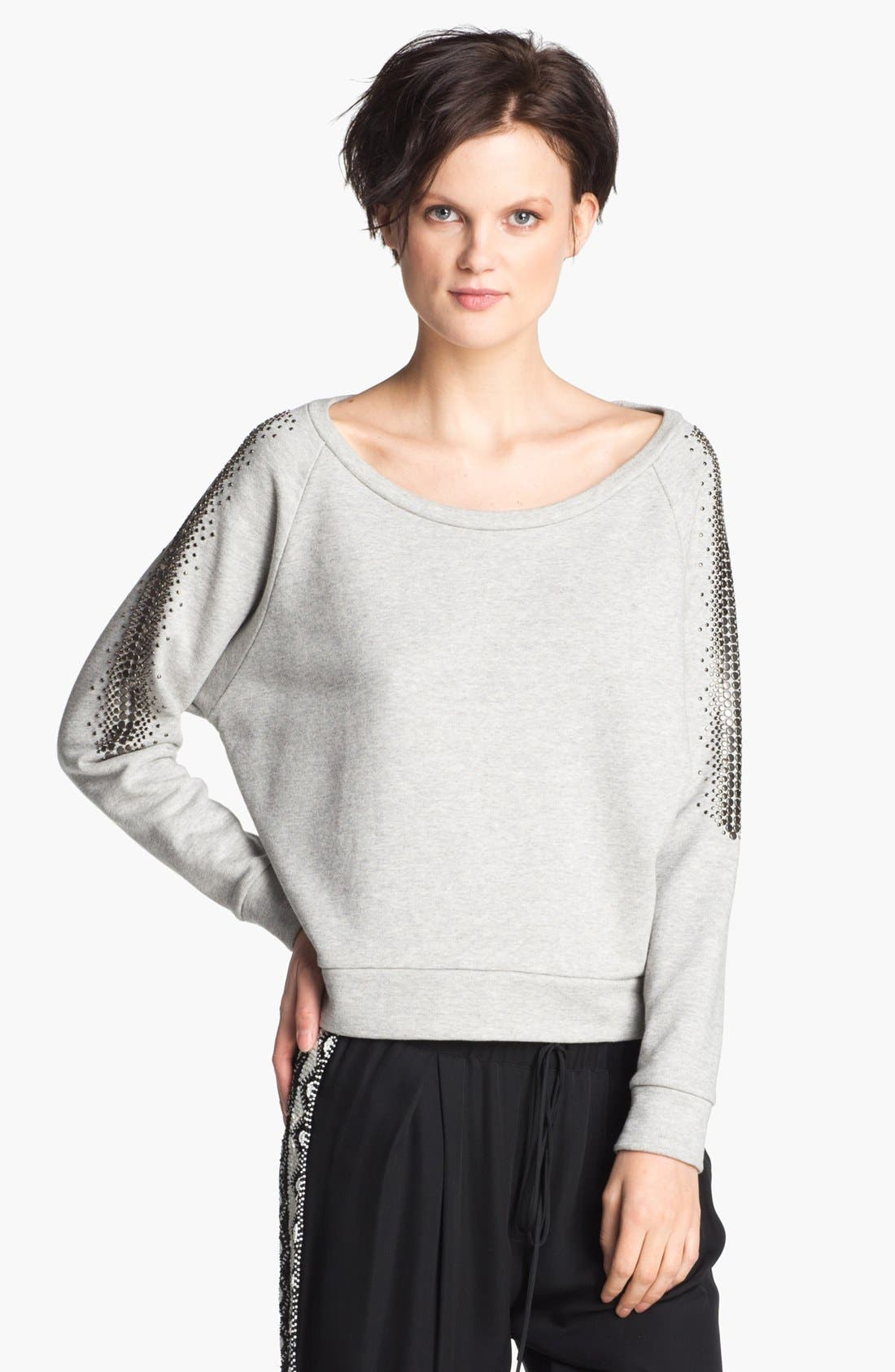 Alternate Image 1 Selected - Haute Hippie Studded French Terry Sweatshirt