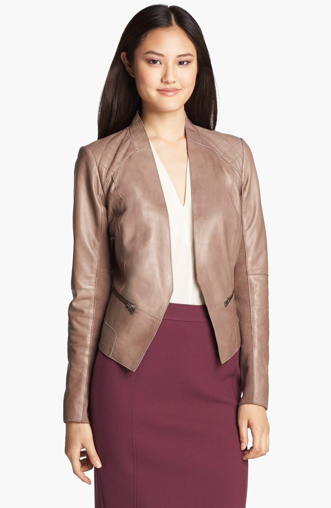 Alternate Image 2  - Halogen® Cutaway Leather Jacket