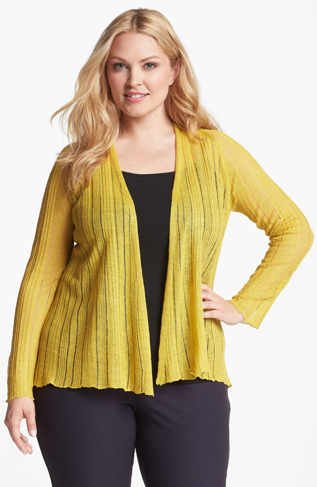 Alternate Image 1 Selected - Eileen Fisher Raglan Sleeve Open Cardigan (Plus Size)