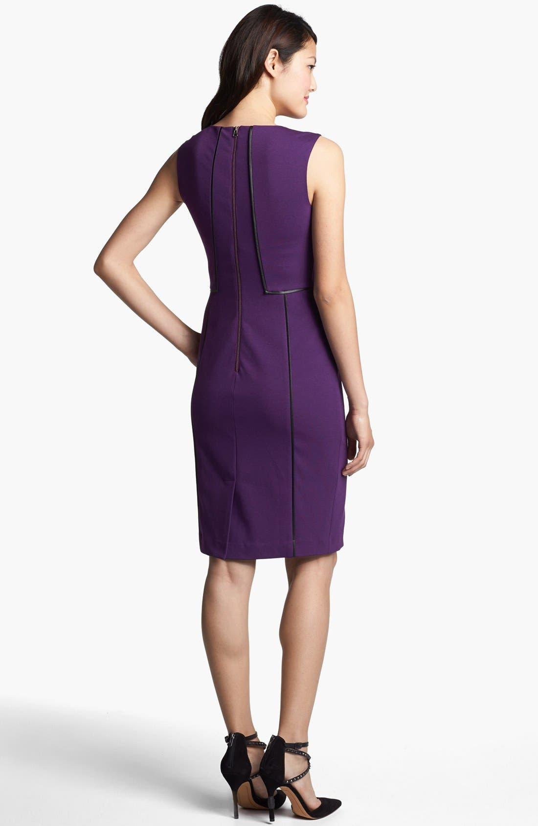 Alternate Image 2  - Halogen® Faux Leather Trim Sheath Dress (Online Only)