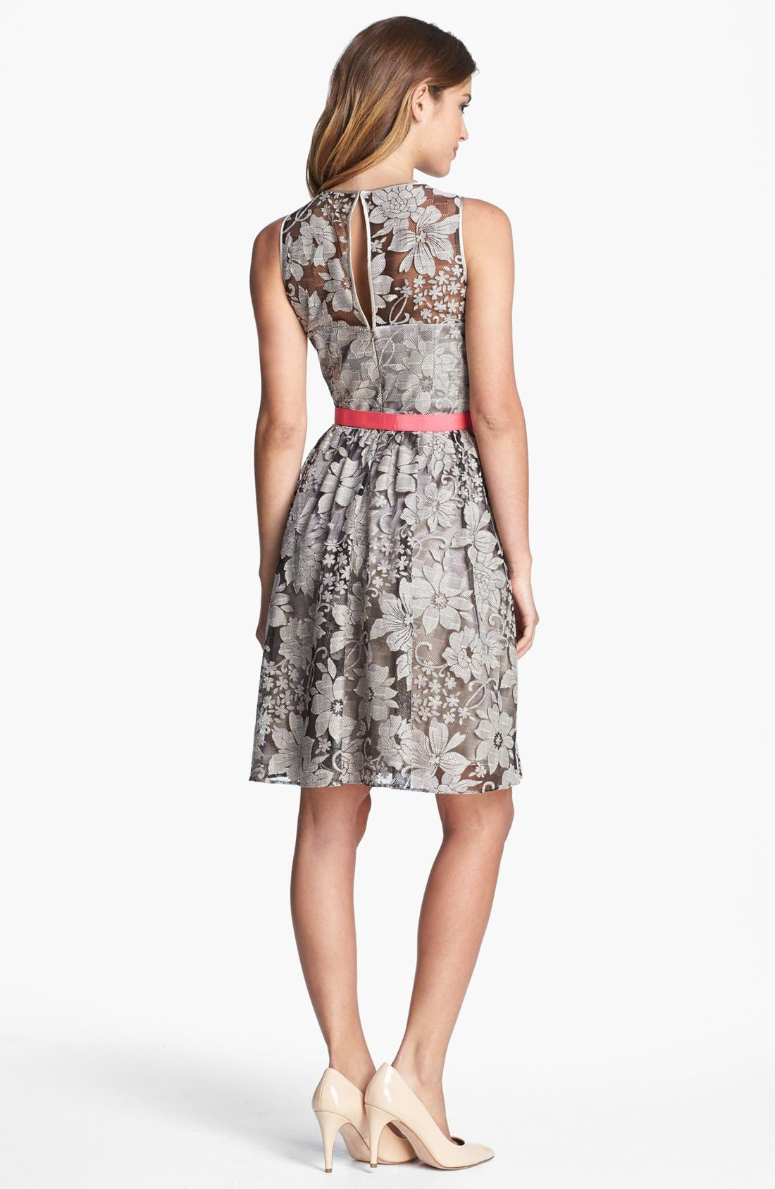 Alternate Image 2  - Eliza J Textured Lace Fit & Flare Dress