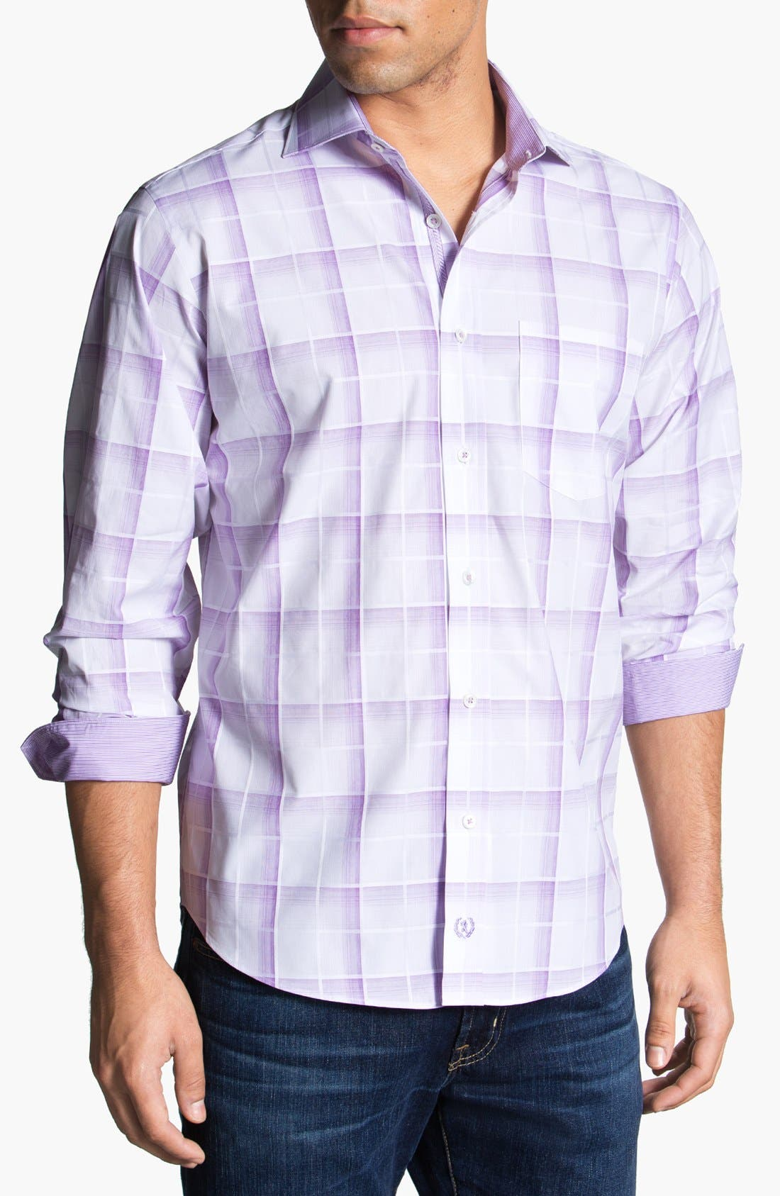 Alternate Image 1 Selected - Bugatchi Check Classic Fit Cotton Sport Shirt (Tall)