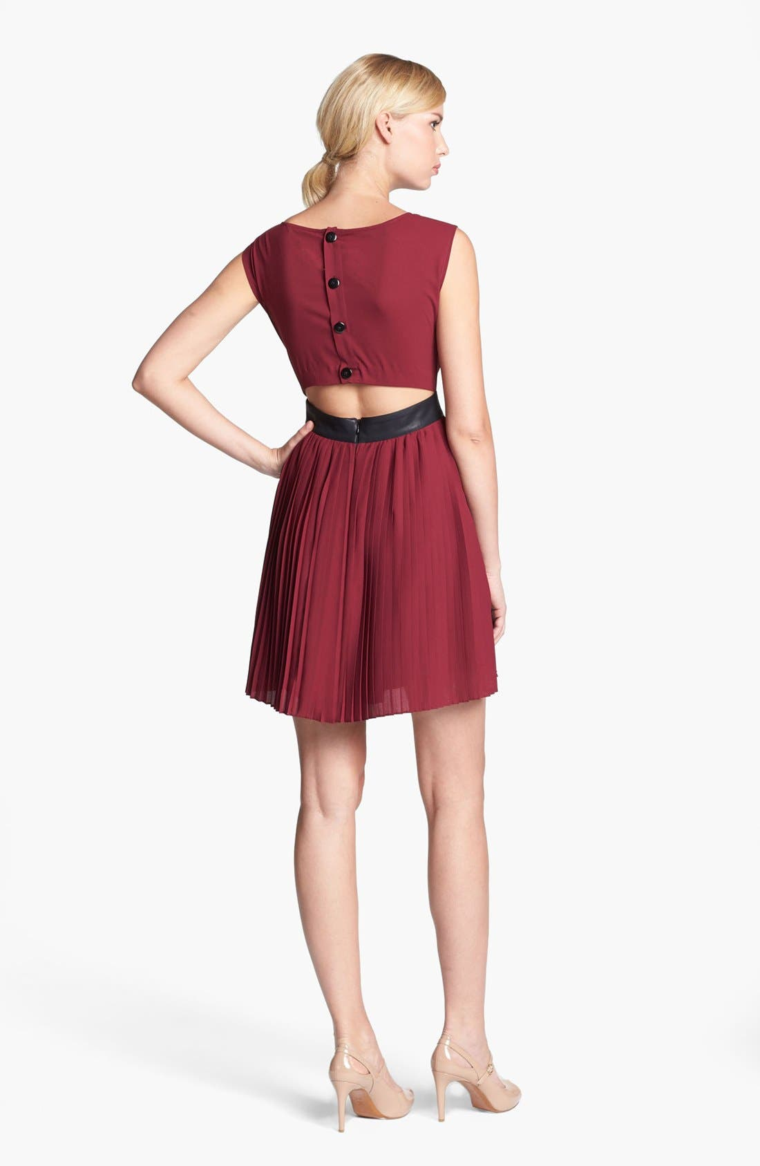 Alternate Image 2  - BB Dakota Faux Leather Trim Pleated Chiffon Dress (Online Only)