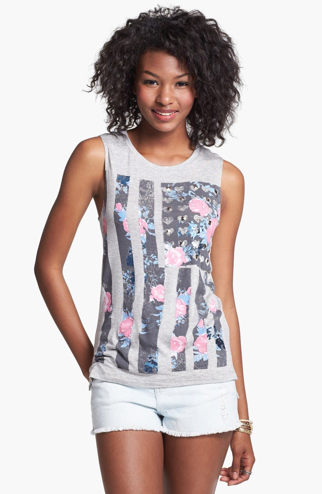 Alternate Image 1 Selected - Ten Sixty Sherman Floral Flag Muscle Tee (Juniors)