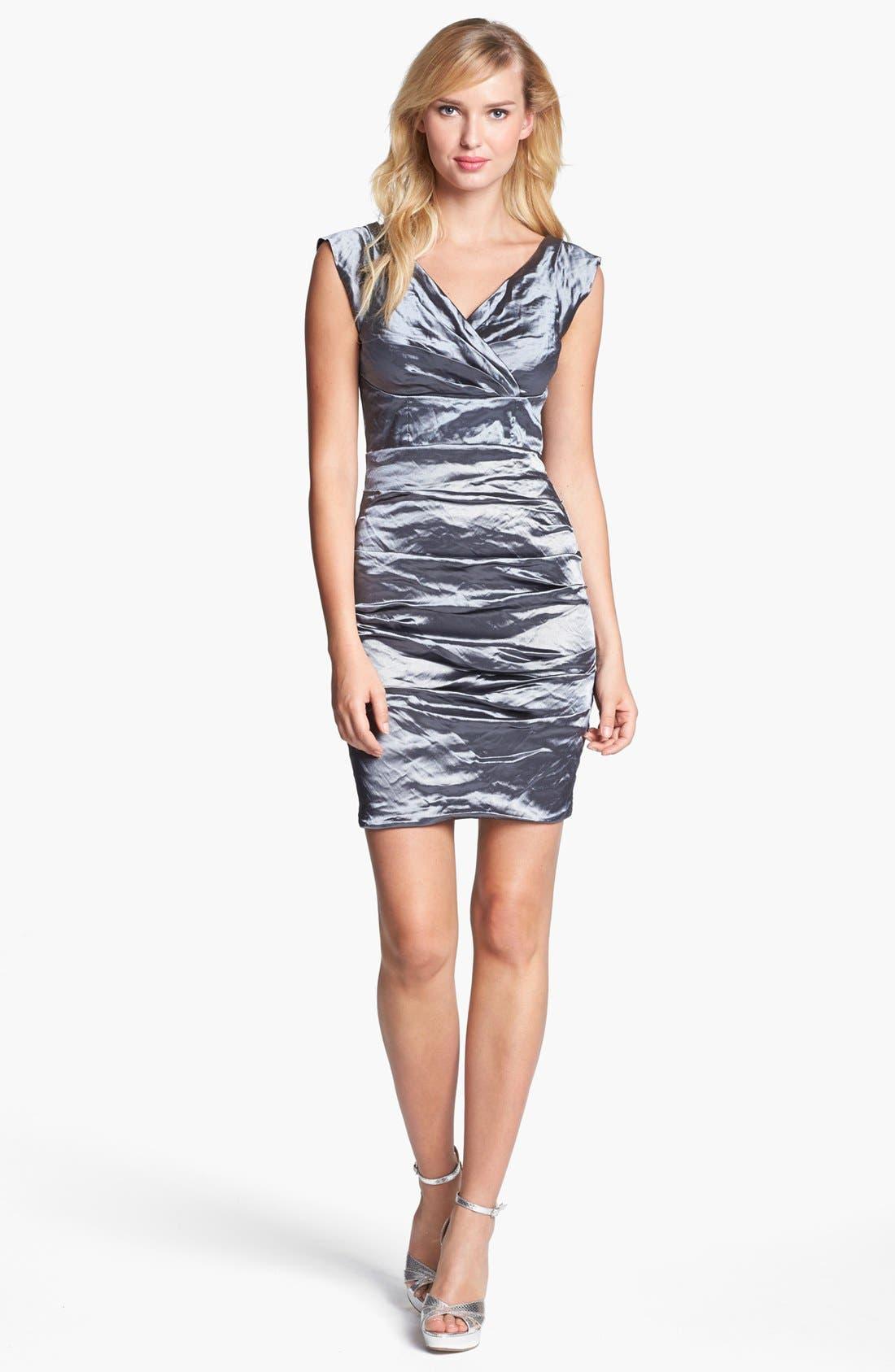 Main Image - Nicole Miller Techno Metal Textured Dress