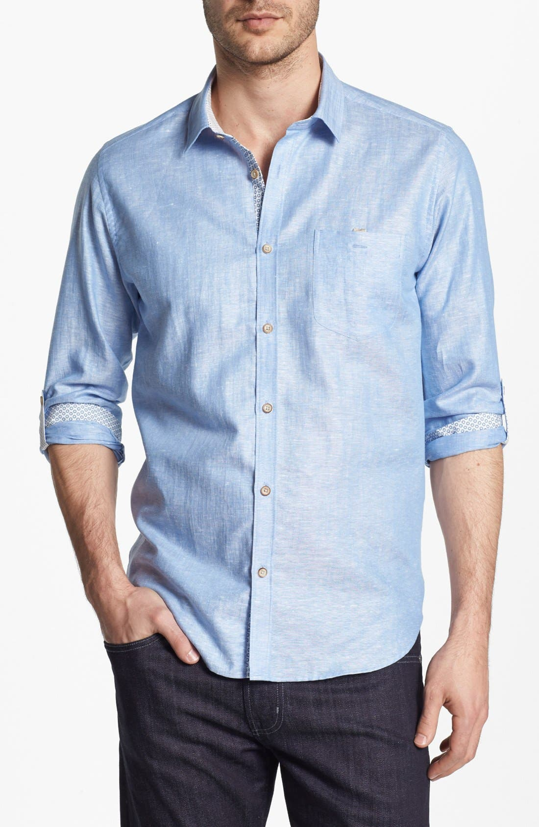 Main Image - Ted Baker London Linen Blend Sport Shirt
