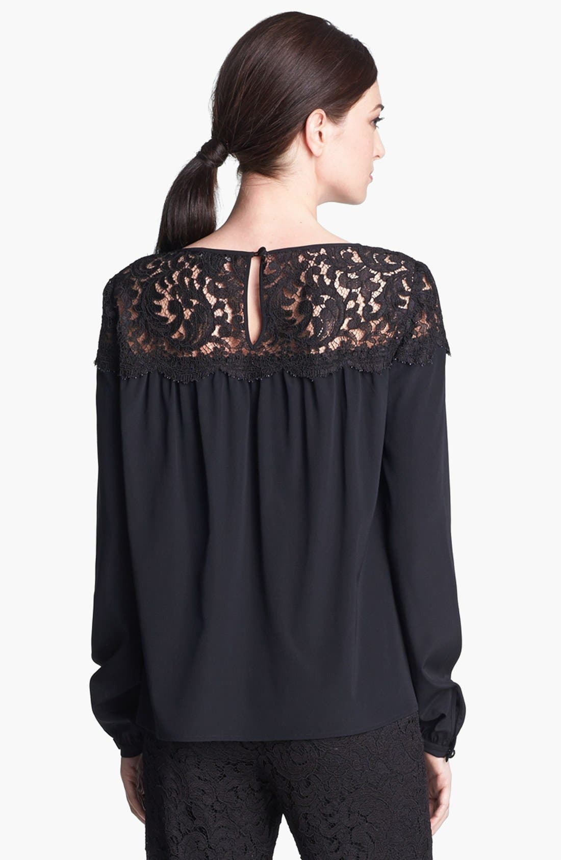 Alternate Image 4  - St. John Collection Plume Lace & Silk Crepe Blouse
