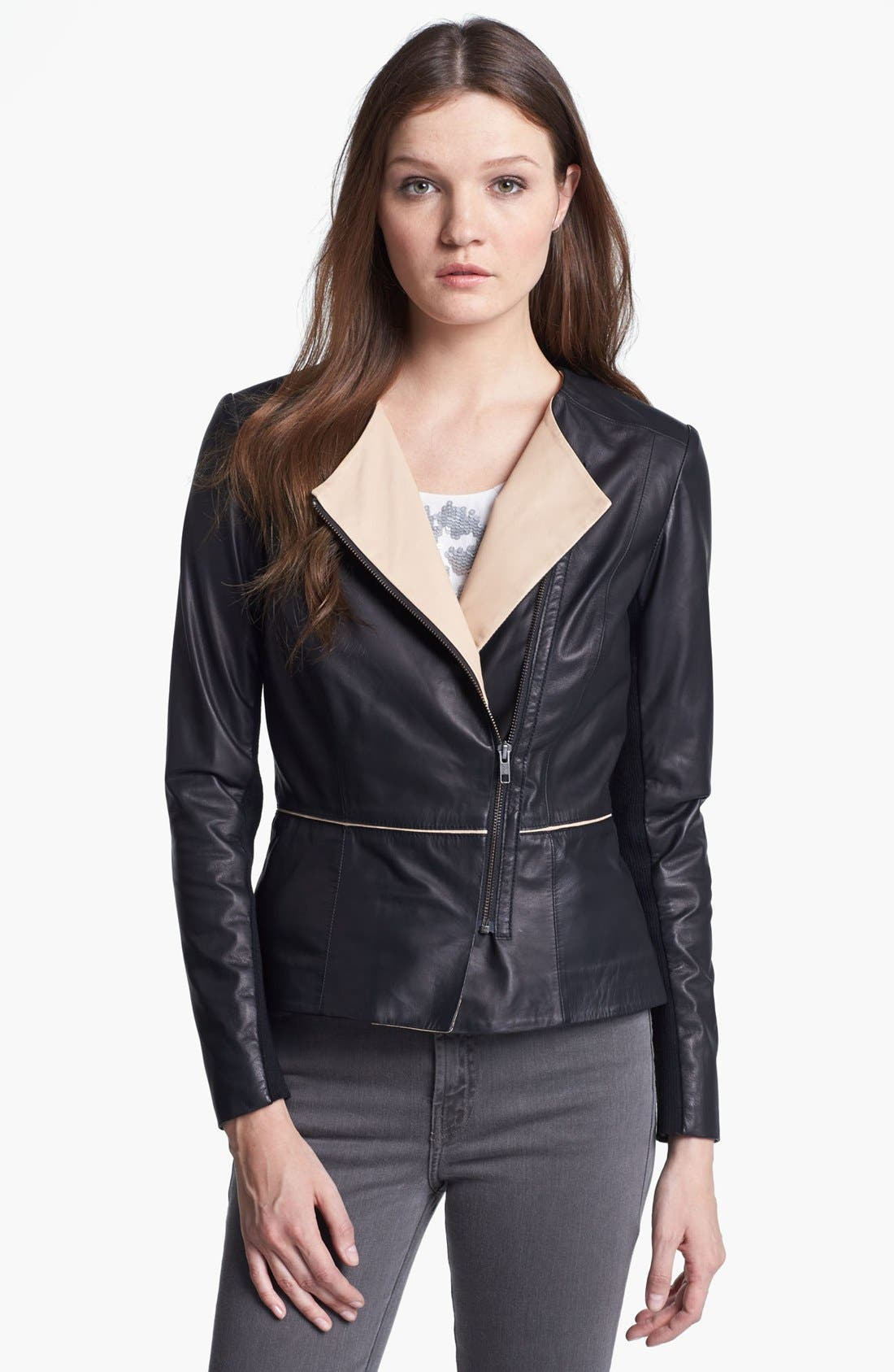 Alternate Image 1 Selected - Rebecca Taylor Leather Blazer