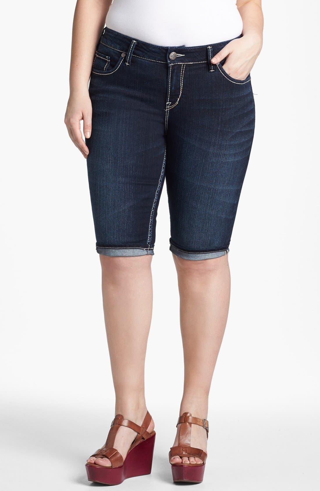 Alternate Image 1 Selected - Silver Jeans Co. 'Suki' Denim Bermuda Shorts (Juniors Plus)