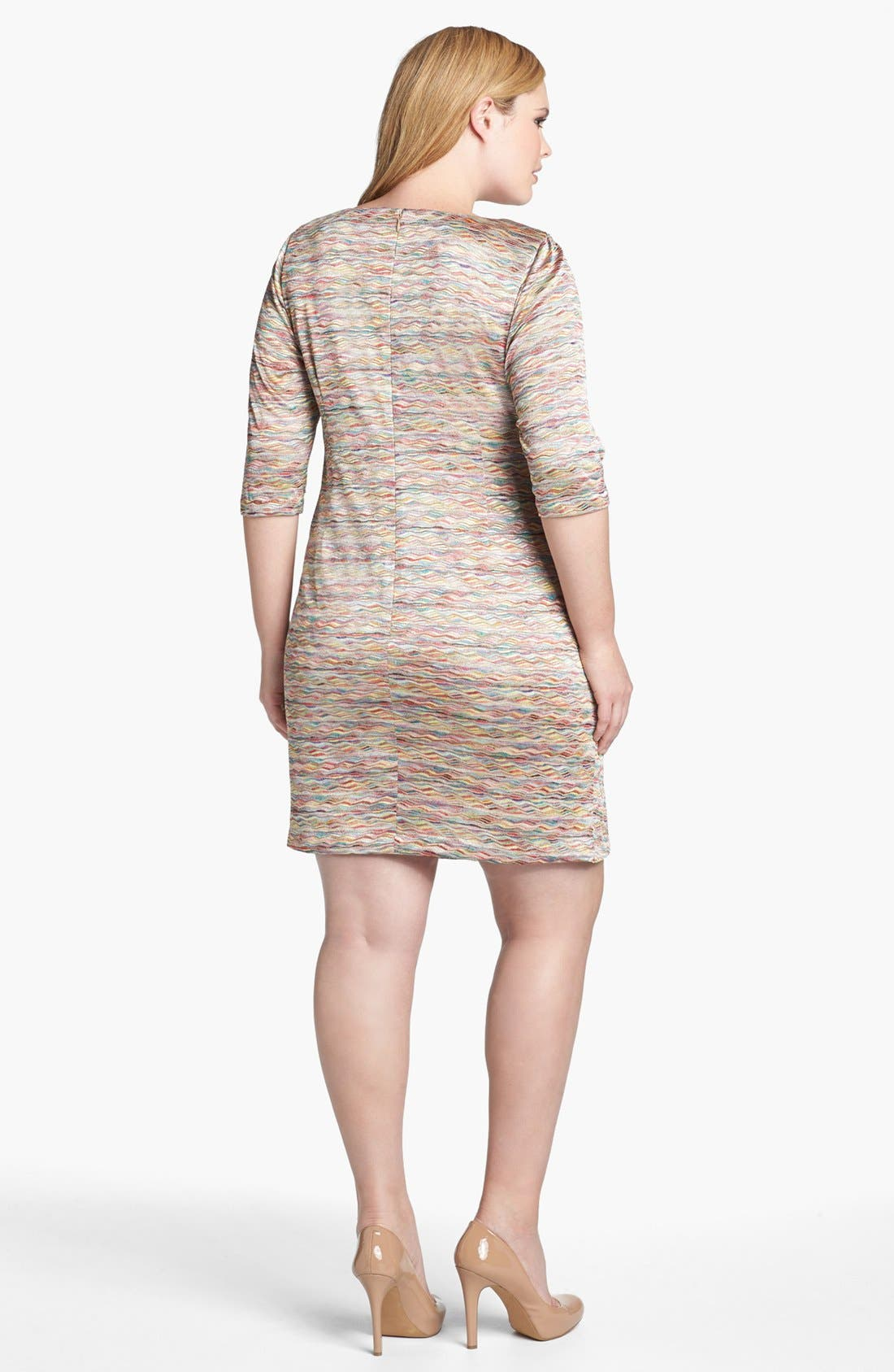 Alternate Image 2  - London Times Seamed Knit Sheath Dress (Plus Size)