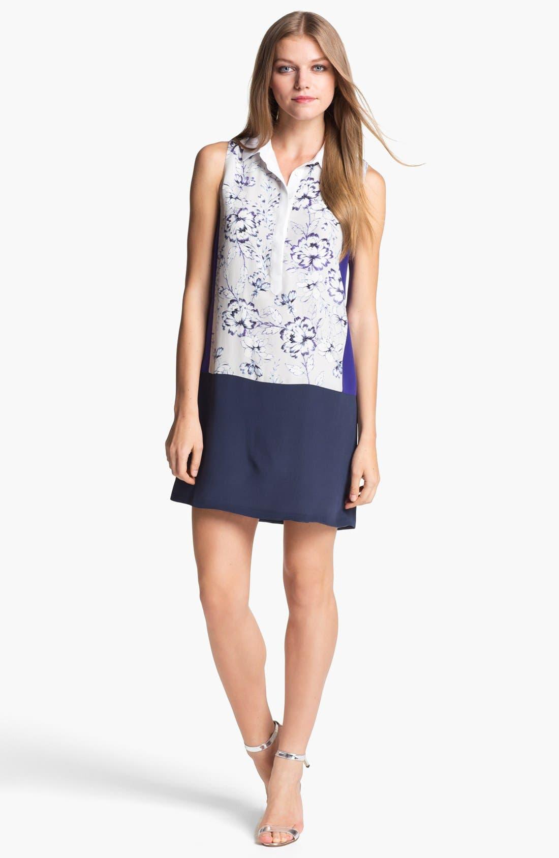 Alternate Image 1 Selected - Rebecca Taylor 'Zen Flower' Silk Shift Dress