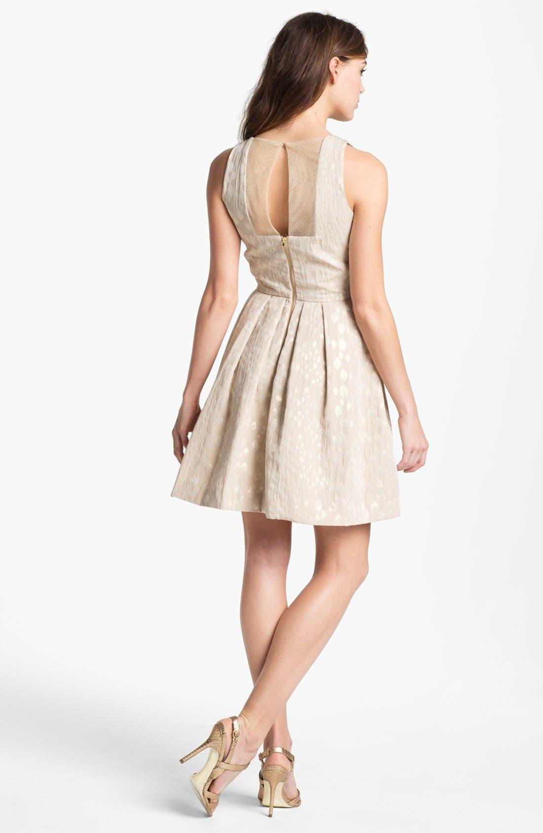 Alternate Image 2  - Taylor Dresses Metallic Jacquard Fit & Flare Dress