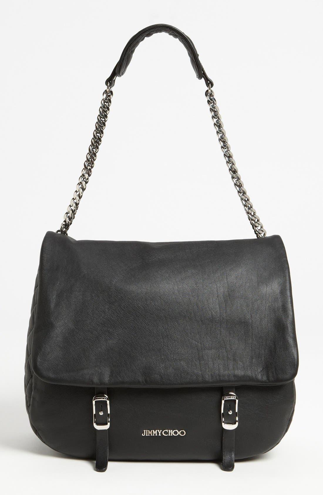 Alternate Image 1 Selected - Jimmy Choo 'Becka Biker - Large' Leather Shoulder Bag