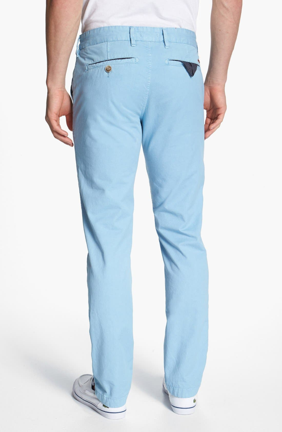 Alternate Image 2  - Ted Baker London Flat Front Cotton Chinos