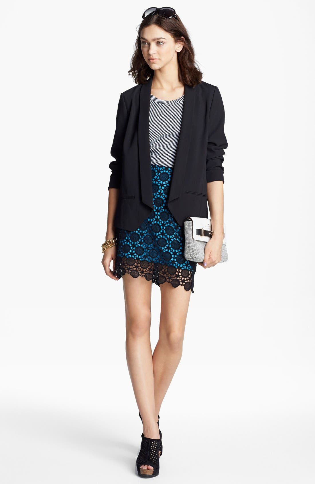 Alternate Image 4  - Kensie Contrast Lace Skirt
