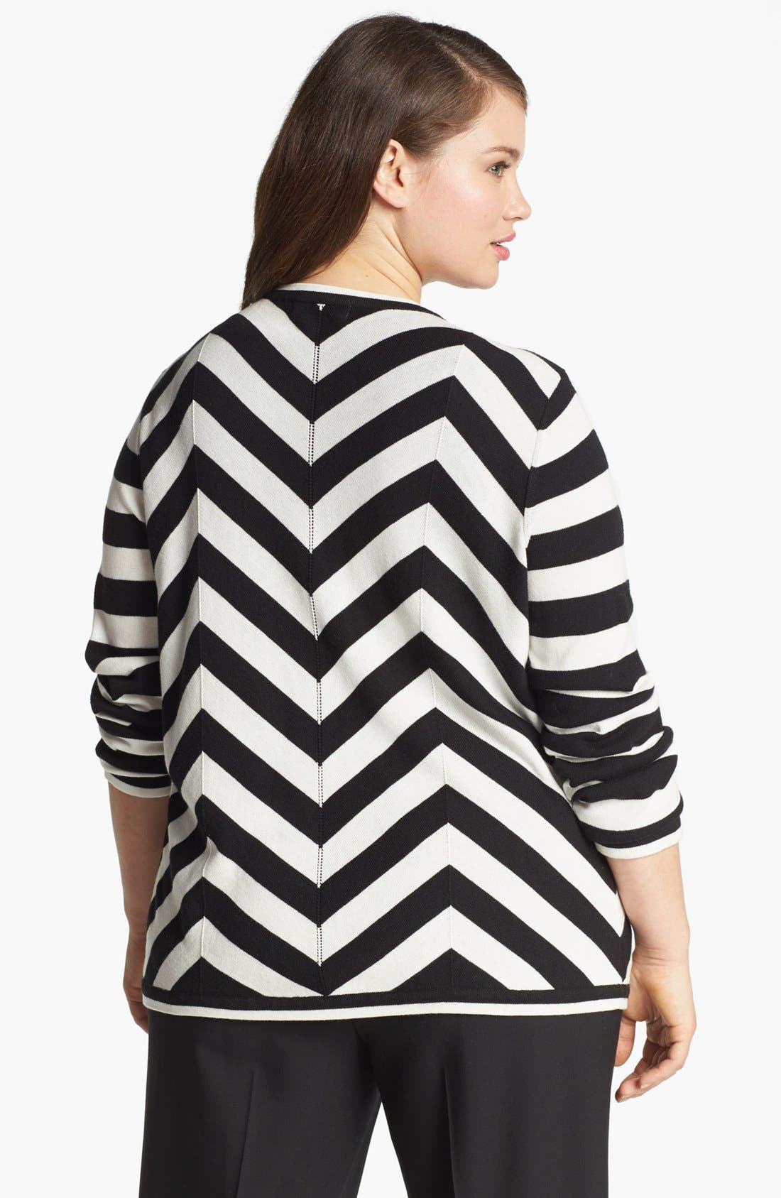 Alternate Image 2  - Foxcroft Chevron Stripe Cardigan (Plus Size) (Online Only)