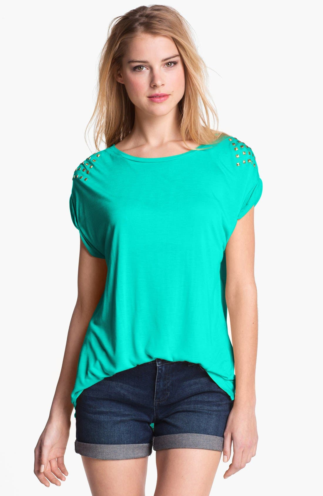 Main Image - Two by Vince Camuto Studded Slouchy Tee