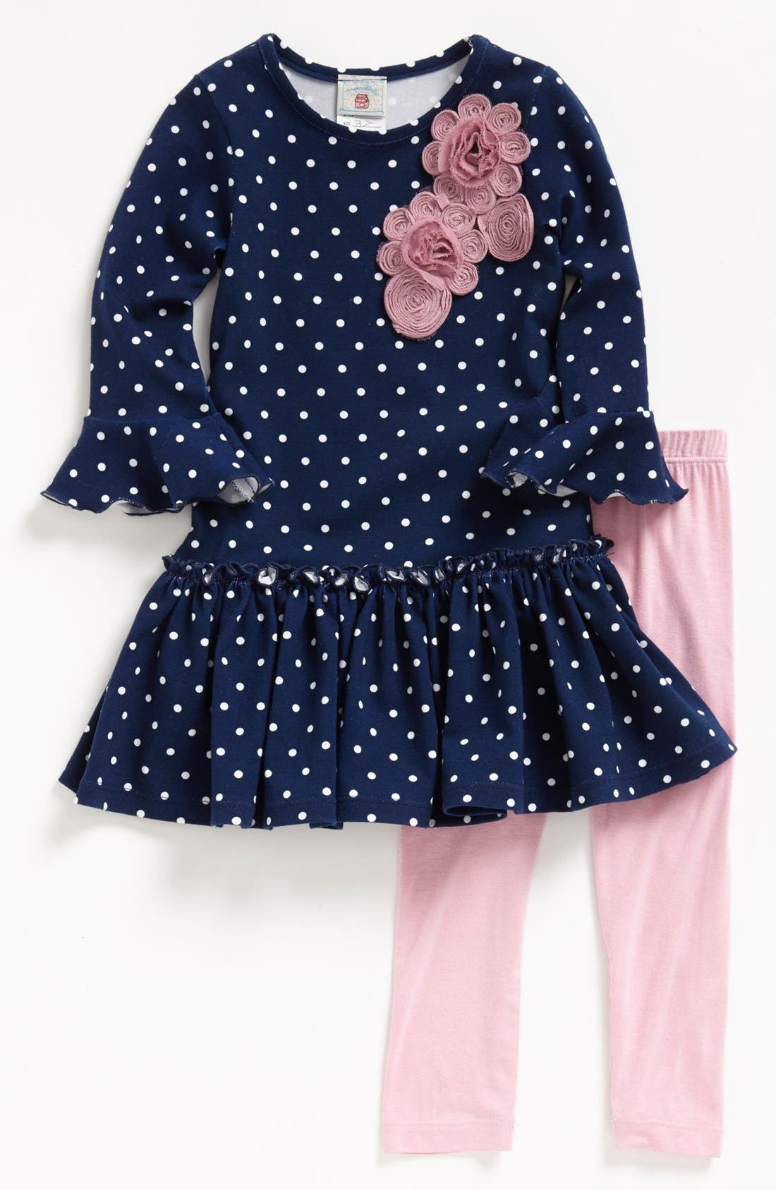 Alternate Image 1 Selected - Pippa & Julie Polka Dot Tunic & Leggings (Toddler Girls)