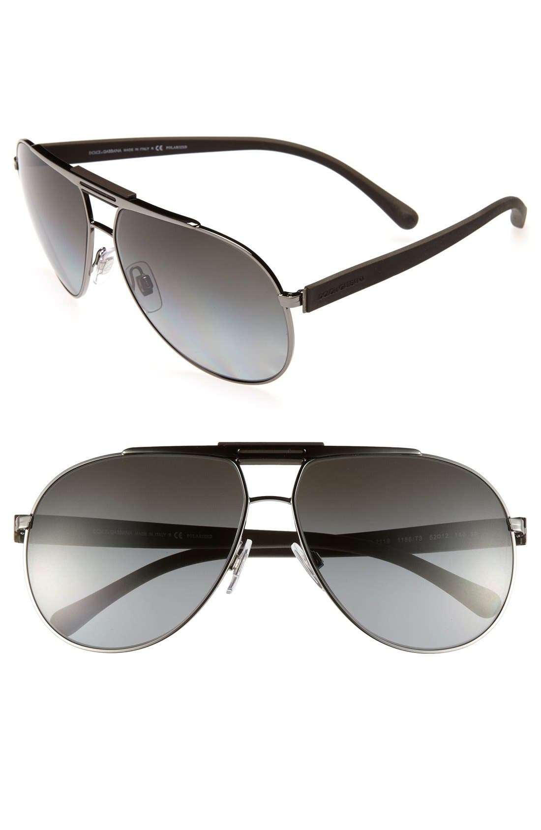 Alternate Image 1 Selected - Dolce&Gabbana 62mm Classic Aviator Polarized Sunglasses