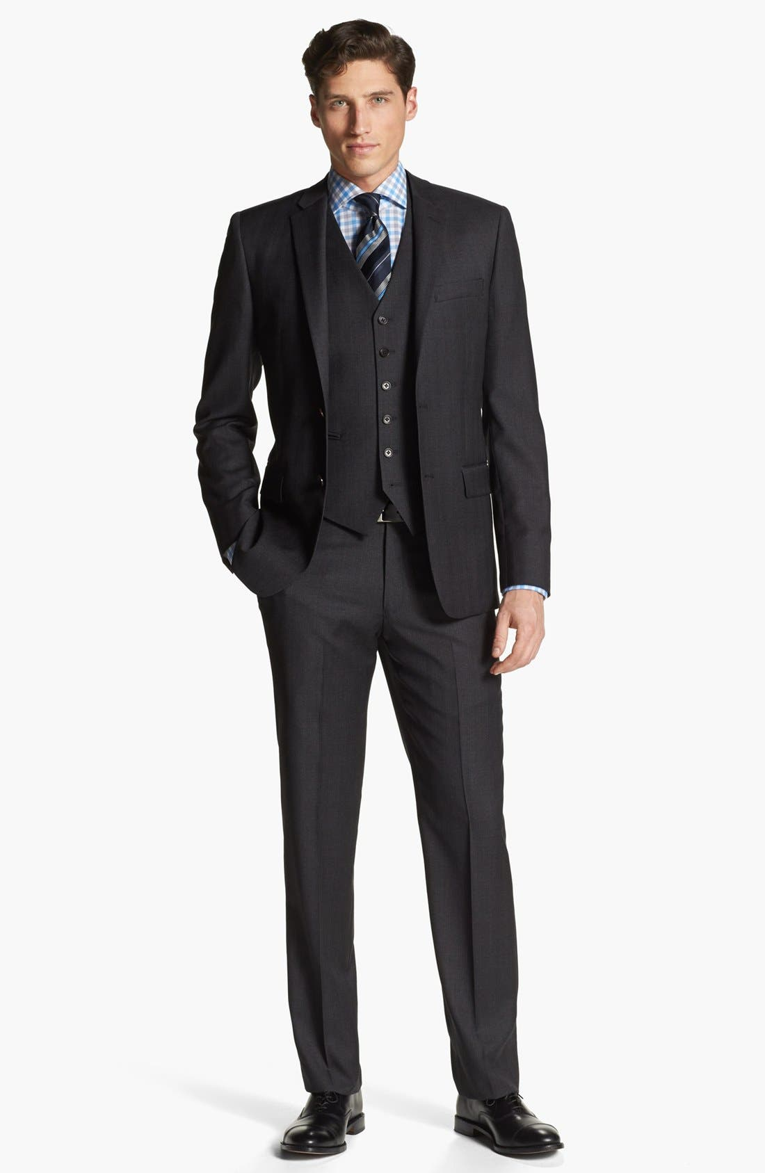 Alternate Image 1 Selected - John Varvatos Star USA 'Townshend' Trim Fit Three Piece Suit