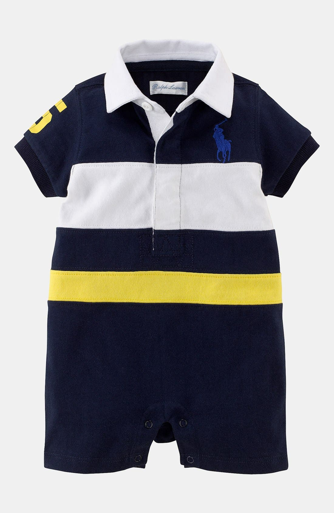 Alternate Image 1 Selected - Ralph Lauren Rugby Romper (Baby Boys)