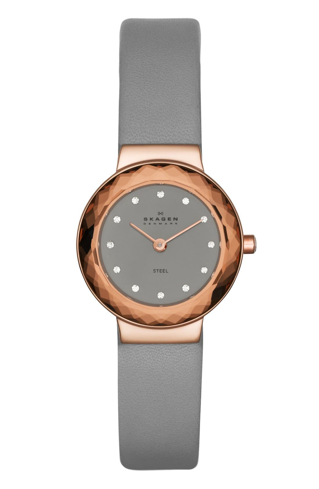 Main Image - Skagen Faceted Bezel Leather Strap Watch, 25mm