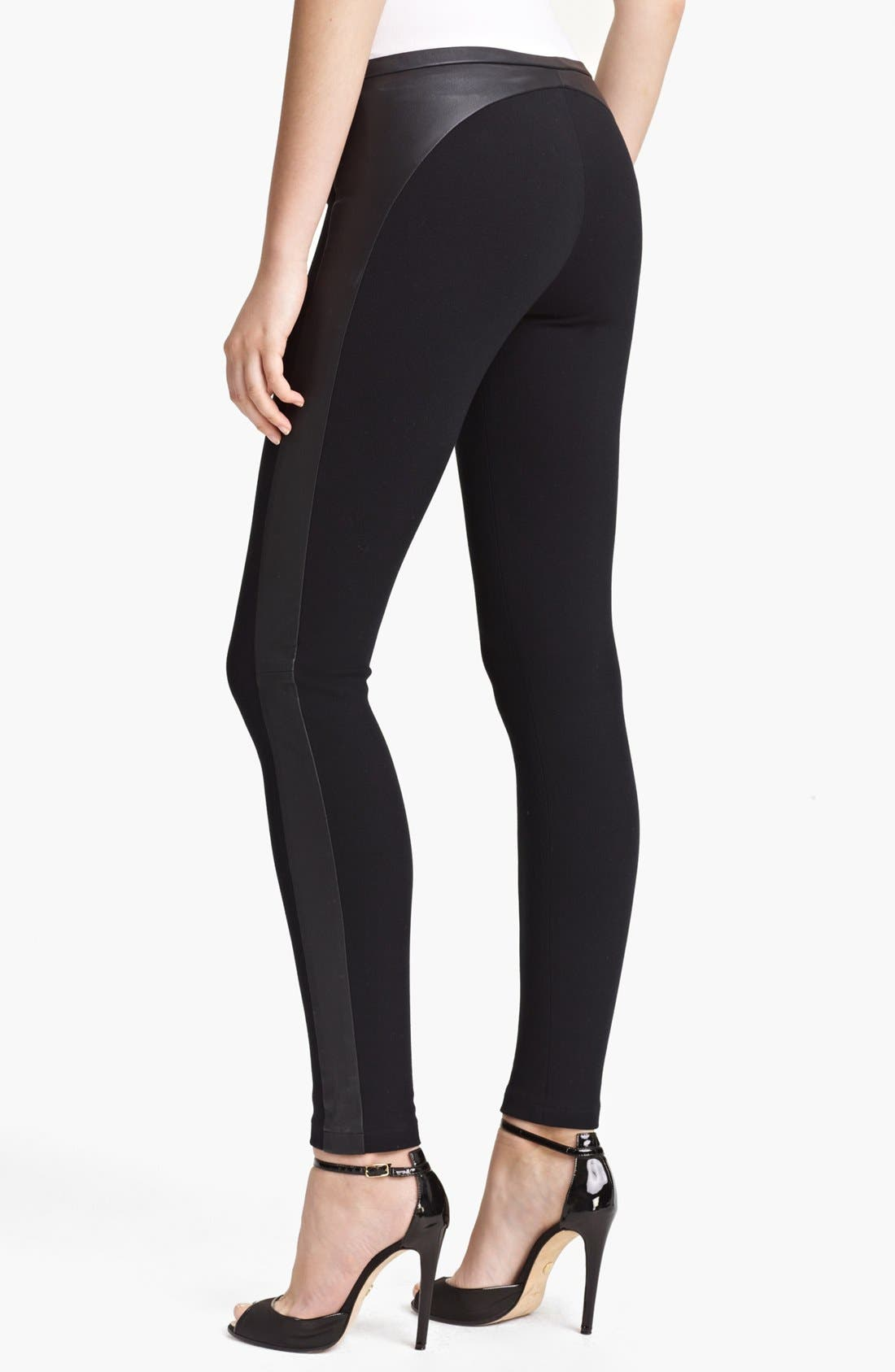 Alternate Image 2  - Emilio Pucci Leather Trim Punto Milano Leggings