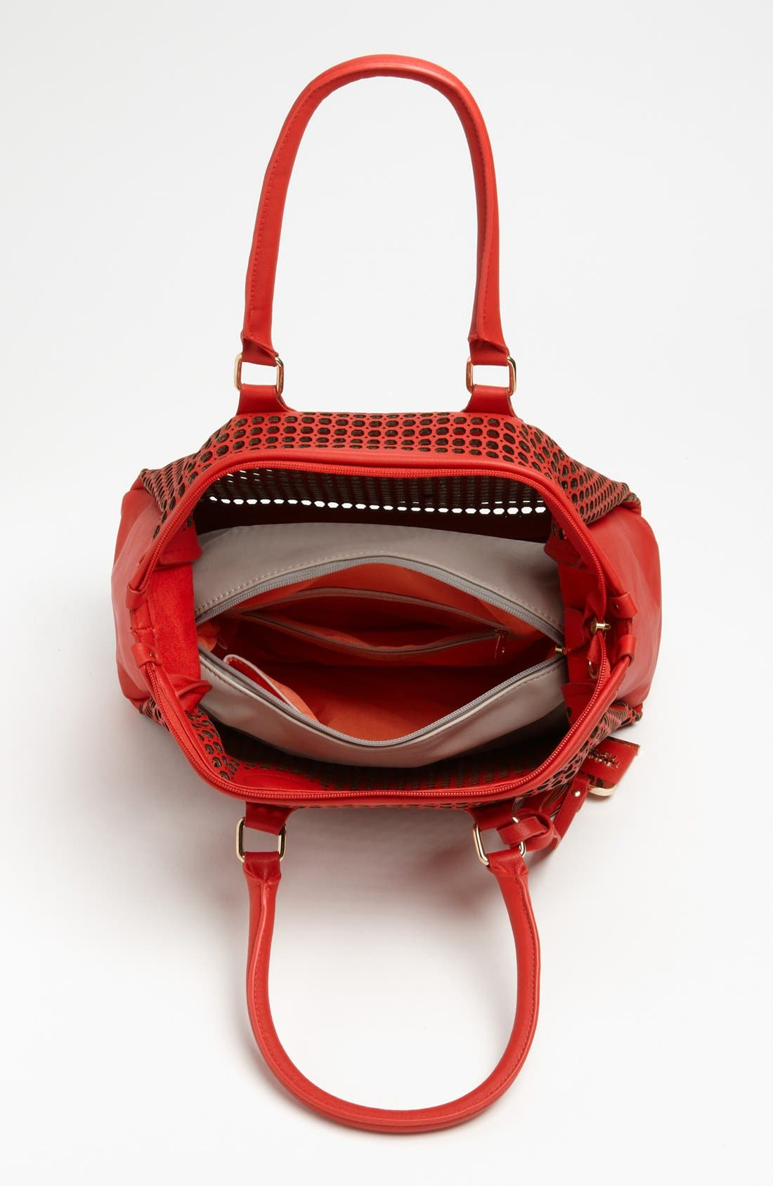 Alternate Image 2  - POVERTY FLATS by rian Perforated Faux Leather Shoulder Bag