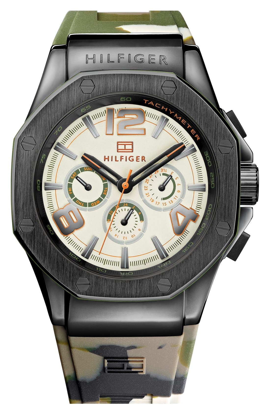 Alternate Image 1 Selected - Tommy Hilfiger Bolted Bezel Silicone Strap Watch, 44mm x 59mm