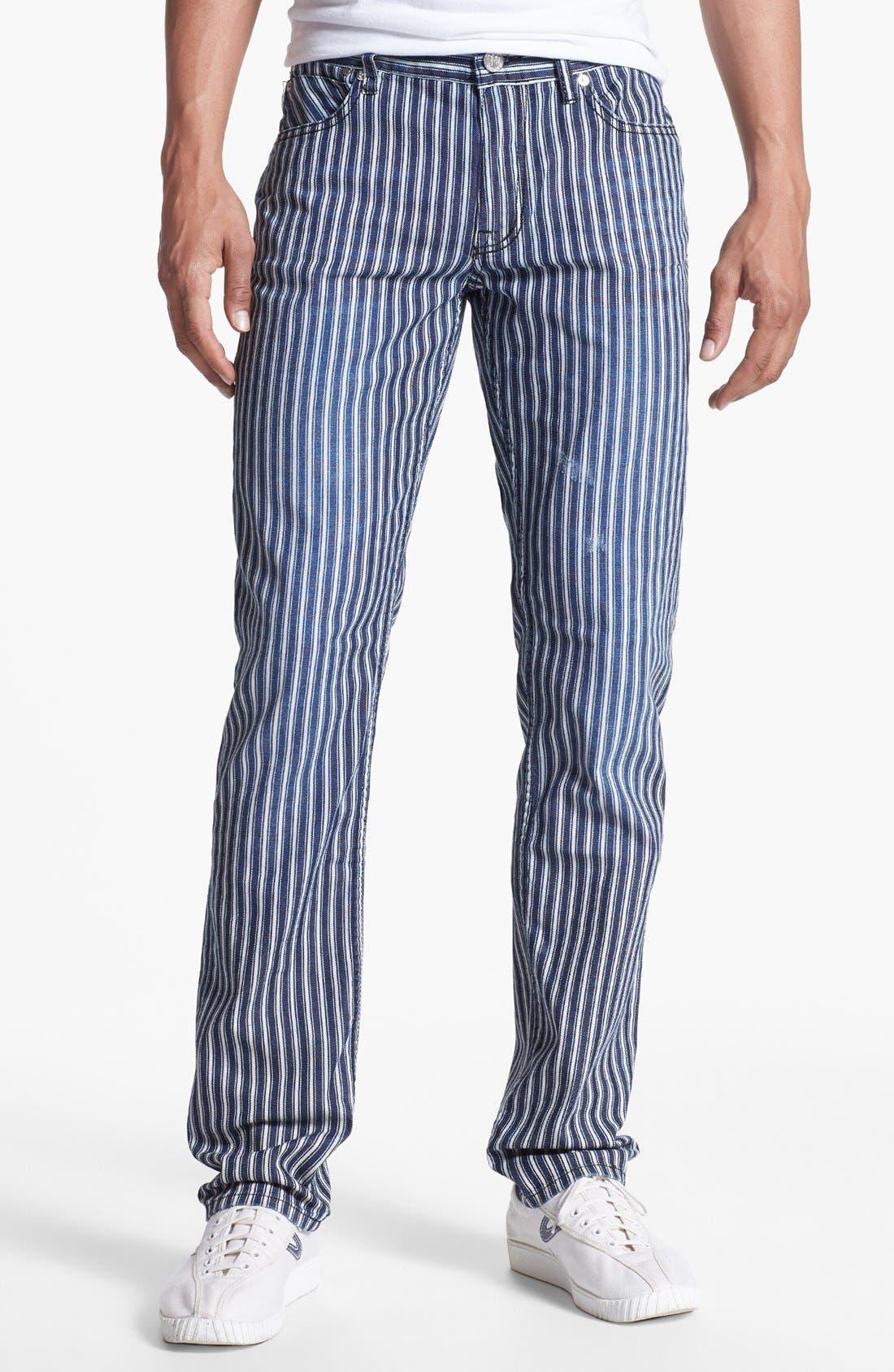 Alternate Image 1 Selected - Williamsburg Garment Company 'Grand Street' Slim Fit Jeans (Engineer Stripe)