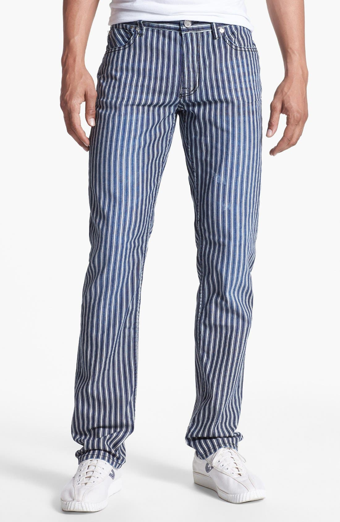 Main Image - Williamsburg Garment Company 'Grand Street' Slim Fit Jeans (Engineer Stripe)