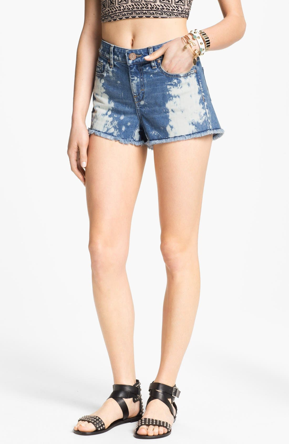 Alternate Image 1 Selected - STS Blue Bleached High Waist Shorts (Juniors)