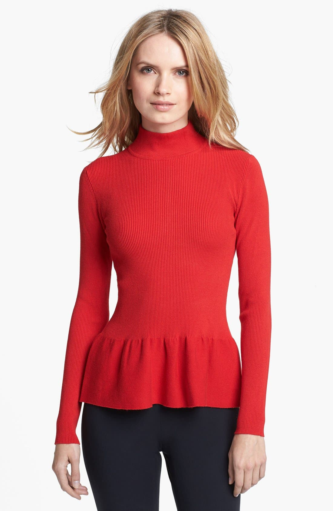 Main Image - MICHAEL Michael Kors Mock Neck Ribbed Peplum Top