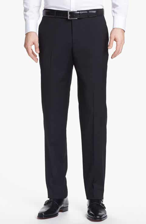 BOSS 'Sharp' Slim Fit Flat Front Wool Trousers