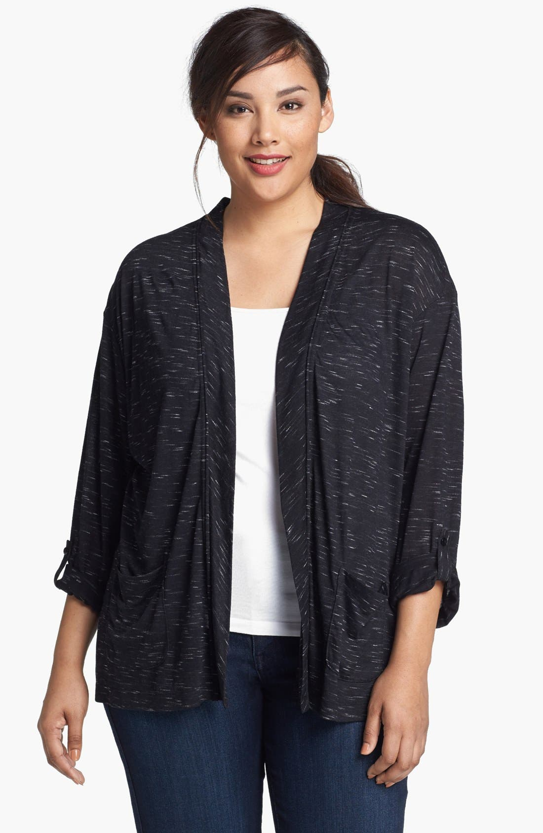 Main Image - Sejour Space Dye Roll Sleeve Cardigan (Plus Size)