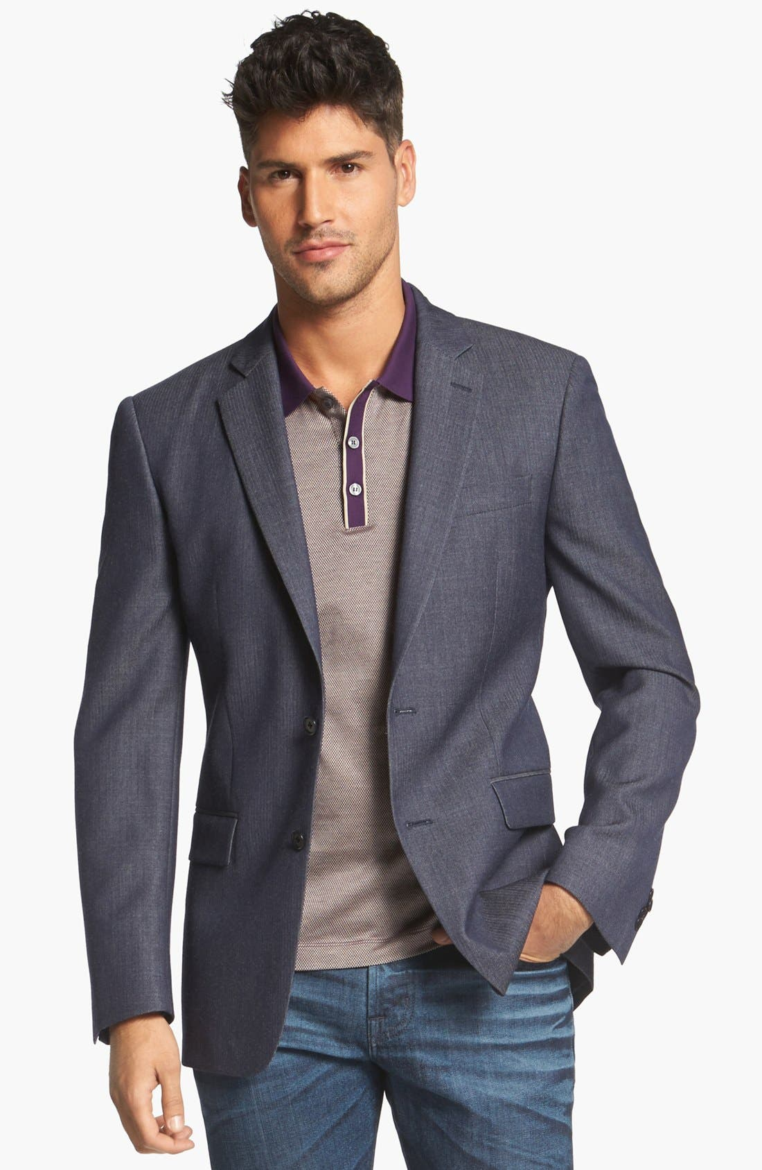 Main Image - John Varvatos Star USA Herringbone Trim Fit Wool Sportcoat