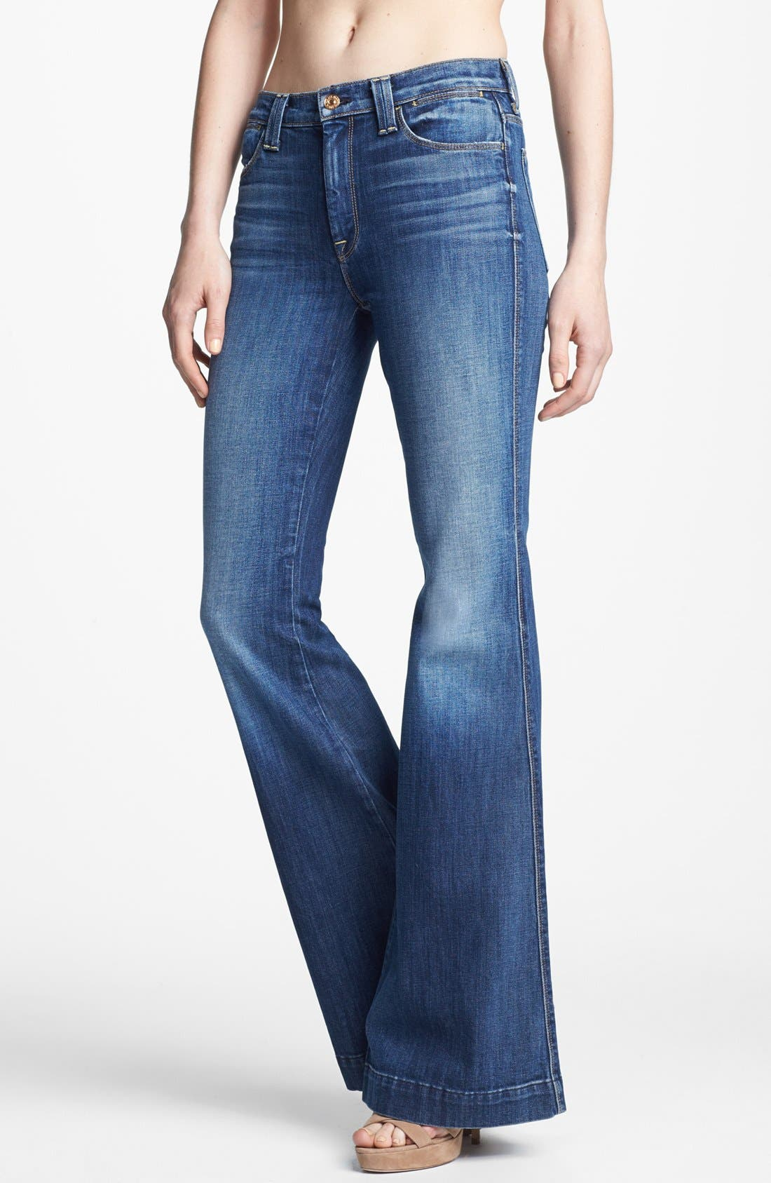 Main Image - 7 For All Mankind® 'Clean Biancha' Flare Leg Jeans (Authentic Bright Blue)