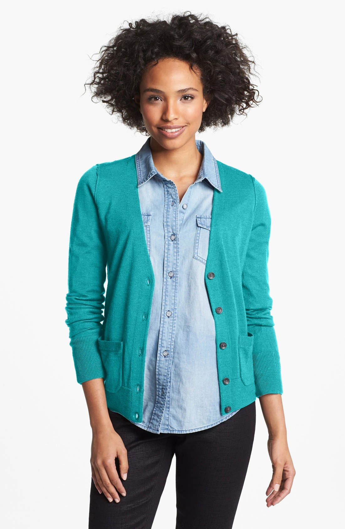 Alternate Image 1 Selected - Halogen® Lightweight V-Neck Cardigan