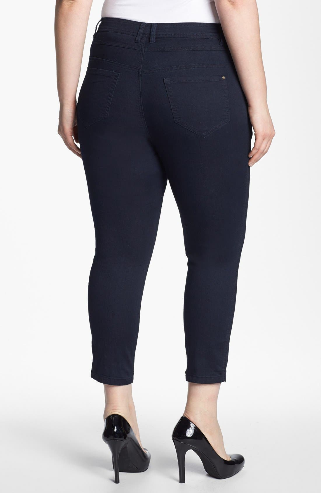 Alternate Image 2  - Evans High Waist Slim Ankle Jeans (Plus Size)