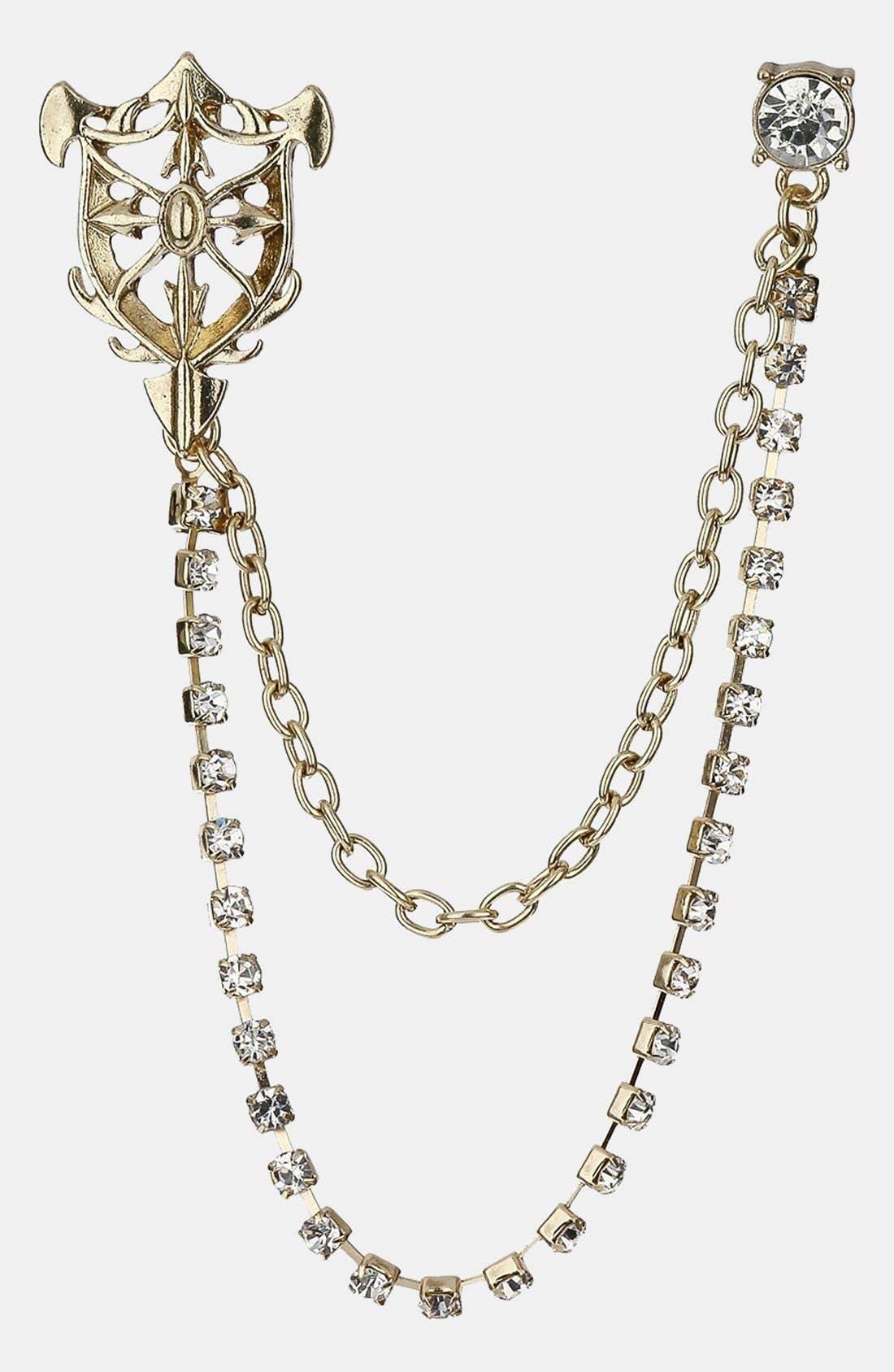 Main Image - Topman Crest Chain Lapel Pin