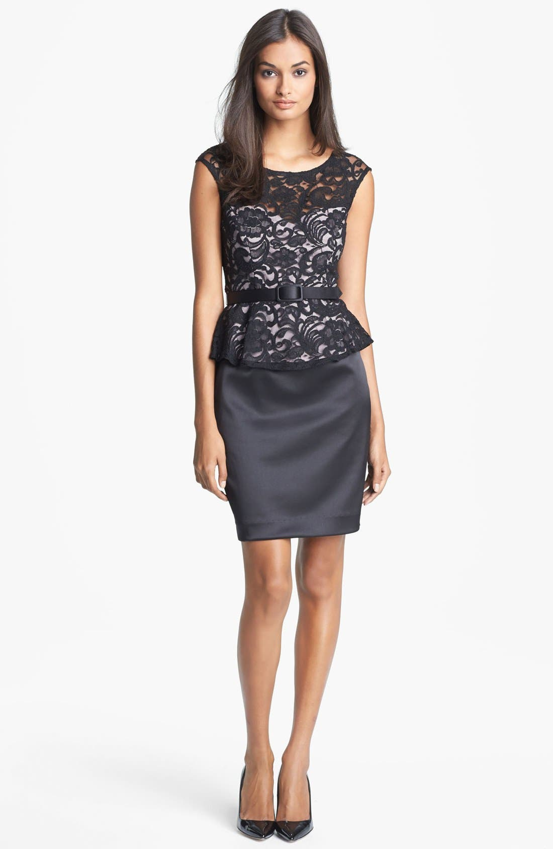 Main Image - Xscape Mixed Media Peplum Dress (Petite)