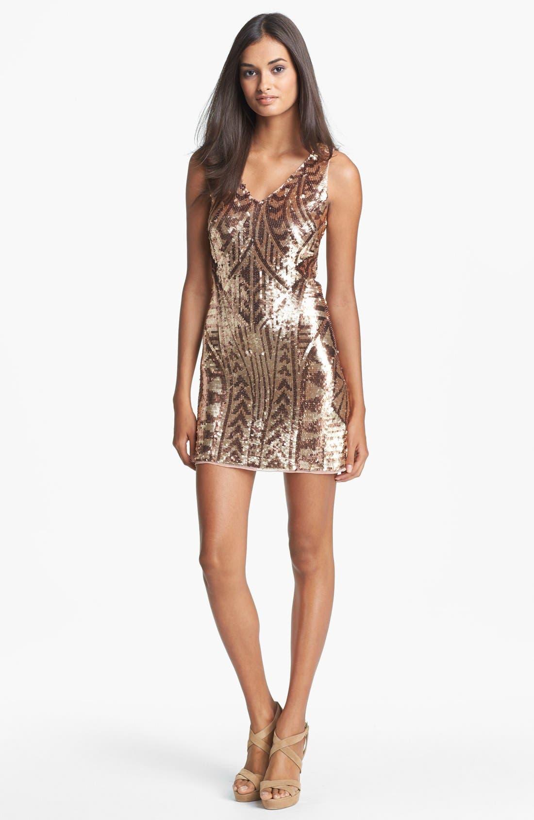 Main Image - Aidan Mattox Sequin Minidress (Online Only)